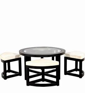 black forest round coffee table with 4 stools by With black round coffee table set