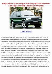 Range Rover Service Repair Workshop Manual Do By Edie