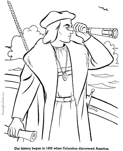 Christopher Columbus Coloring Pages Printable by American History Christopher Columbus 001