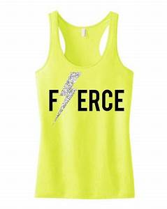 FIERCE Workout Tank with Glitter Lightning Bolt Print