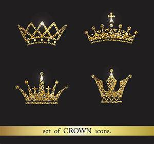 Set of gold crown icons. Collection o | Design Bundles