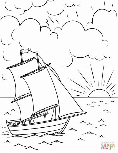 Coloring Sunset Ship Sailing Pages Boat Printable