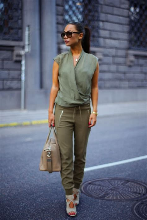 Olive green joggers paired with a silk top nude heels | Love Fashion!!! | Pinterest | Military ...
