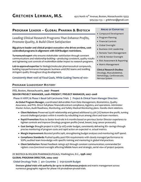 Resume R D by Program Manager Sle Resume Biotech Sle Resume