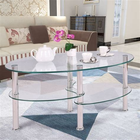 costway tempered glass oval side coffee table shelf chrome