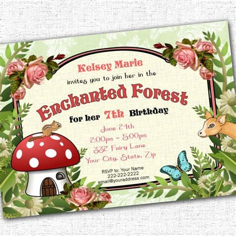 enchanted forest woodland party printable custom