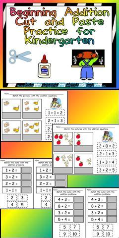cut and paste beginning addition practice kindergarten classroom kindergarten and