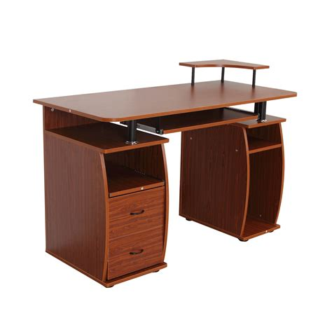 bureau noyer bureau meuble informatique table d ordinateur pc 2 grands
