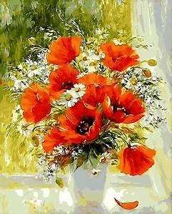 Orange Flowers DIY Acrylic Painting By Numbers Shawn