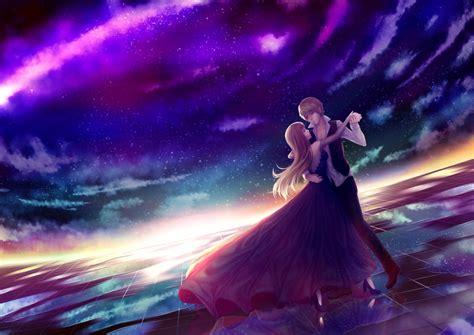 anime couple dancing stars sky