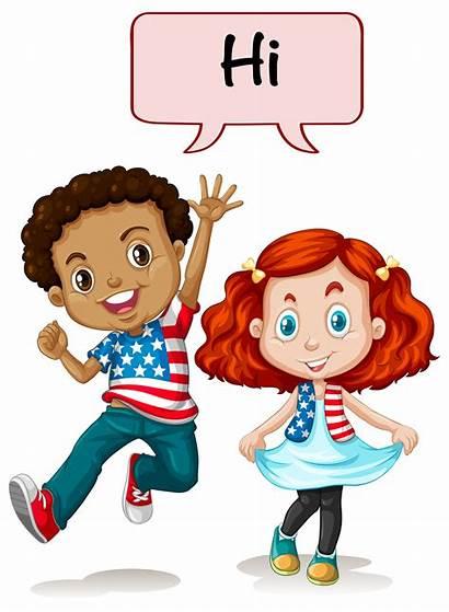 Saying Hi American Vector Boy Illustration Clipart