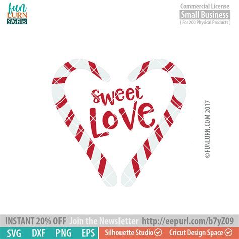Candy cane heart svg cutting file includes: Sweet Love svg - FunLurn