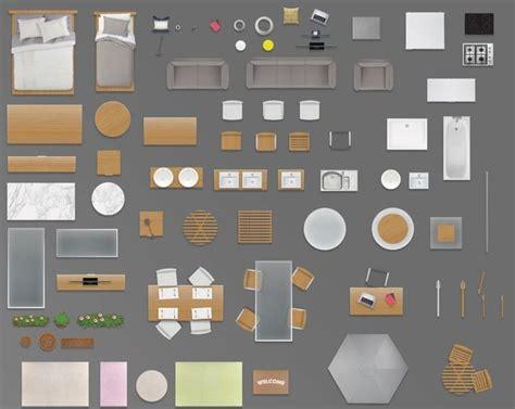 furniture floorplan top view psd  model render