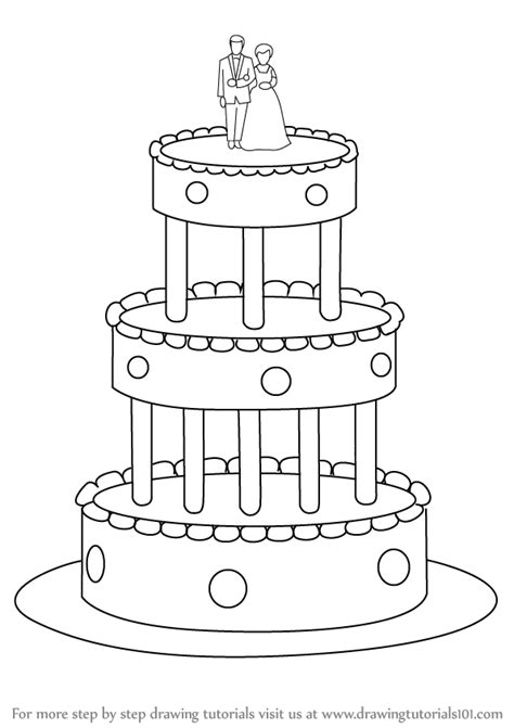 Learn How To Draw A Wedding Cake (cakes) Step By Step