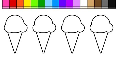 learn colors  kids color draw ice cream coloring