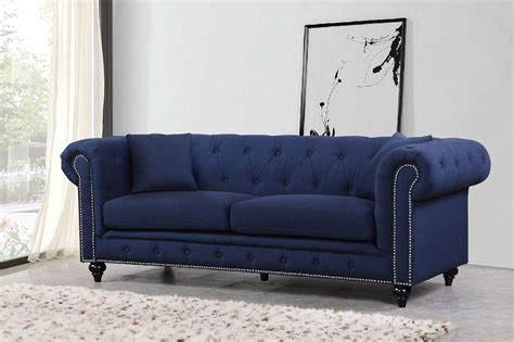 Navy Sofa by Kristopher Chesterfield Contemporary Navy Linen Button