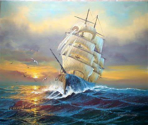 Sailboat Oil Painting by Sailboats And Seagull Battleships Painting In Oil For Sale