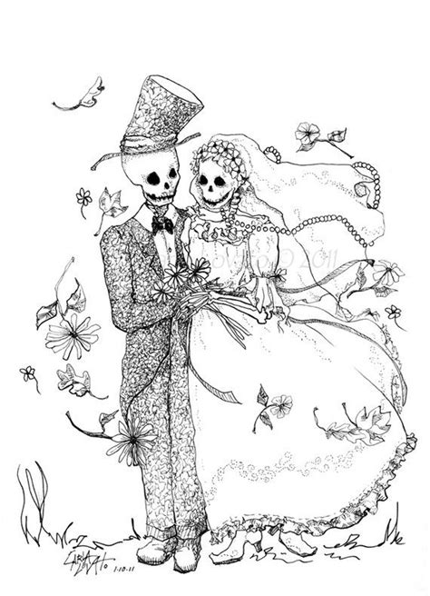 Day The Dead Drawing Skeleton Bride Groom