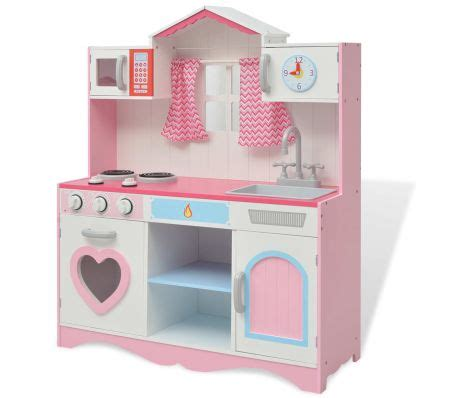 vidaxl toy kitchen wood xx cm pink  white