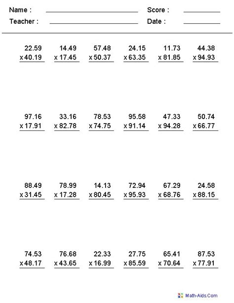 multiplication worksheets with decimals this worksheet was built to aligns to common core