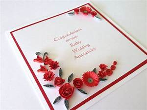 paper quilled 40th ruby wedding anniversary by joscinta on With handmade ruby wedding invitations