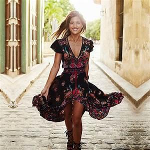 Boho Mode Online Shop : 2018 fashion floral summer bohemian dress women ethnic hippie vintage boho dress irregular long ~ Watch28wear.com Haus und Dekorationen