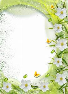 Beautiful Green Transparent Photo Frame with White Flowers ...