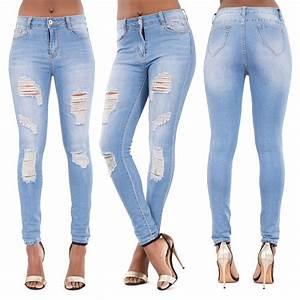 Womens Ripped Knee Skinny Jeans Faded Slim Fit Ladies