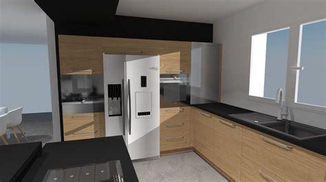 cuisine avec frigo americain integre c2 anubis cuisine bois et noir avec frigo americain