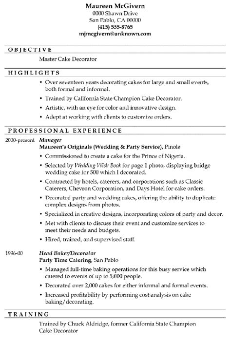 Wedding Cake Decorator Resume by Resume Sle Master Cake Decorator