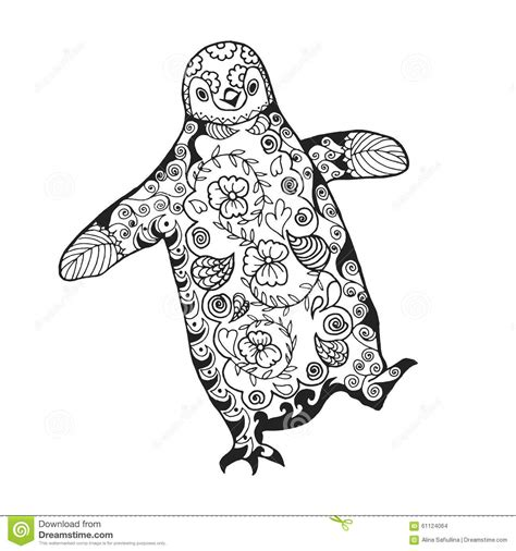 Cute Penguin Adult Antistress Coloring Page Stock