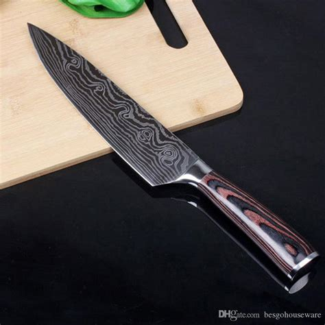 knife kitchen box tools wooden damascus sharp delicate stainless steel slicing tqq vegetable meat fruit handle knives larger quality