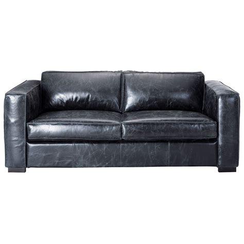 futon du monde 3 seater leather sofa bed in black berlin maisons du monde