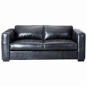 3 seater leather sofa bed in black berlin maisons du monde With 3 in 1 sofa bed
