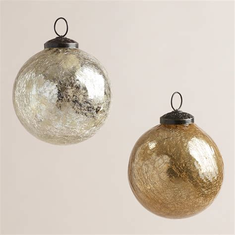 silver and gold crackle mercury glass ornaments set of 2