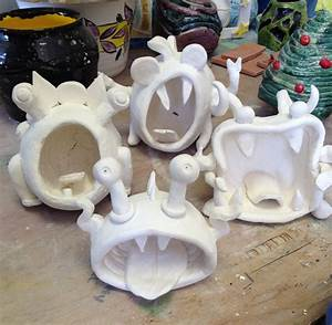 Ready for glaze... Pinch pot monsters!   Clay - Critters ...
