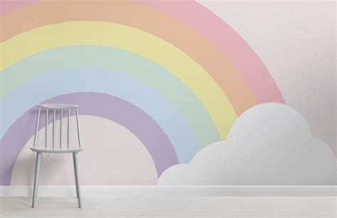 Lovely Pastel Wall Mural Design Ideas by Pastel Rainbow Wallpaper Mural Muralswallpaper