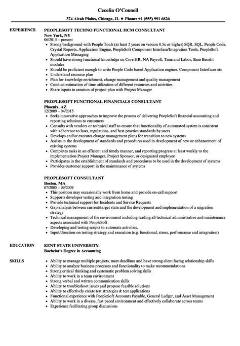 Resume Peoplesoft by Peoplesoft Consultant Resume Sles Velvet