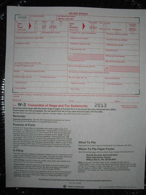irs form w 3 2014 2013 irs tax form w 3 transmittal of wage tax statements
