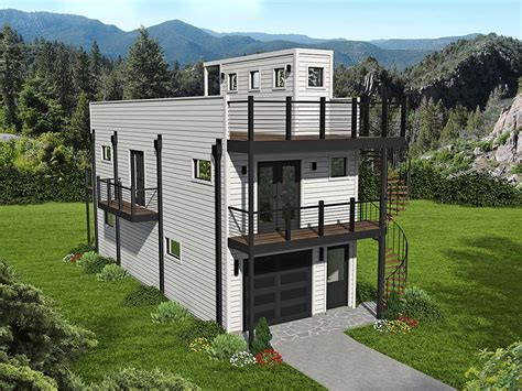 House Plan 40839 Narrow Lot Style with 740 Sq Ft 2 Bed