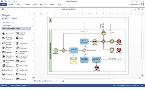 create  ms visio business process diagram