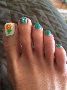 Pineapple pedicure with teal. | Nails | Summer toe nails ...