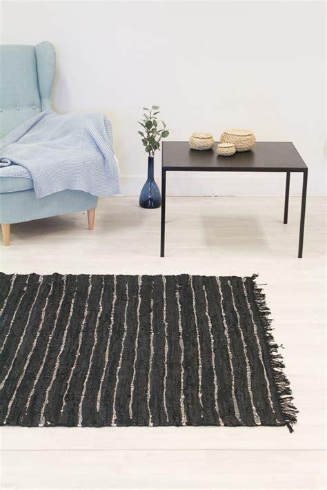 teppich 100 x 200 teppich 140 x 200 cm nordal design schwarz 100 leder