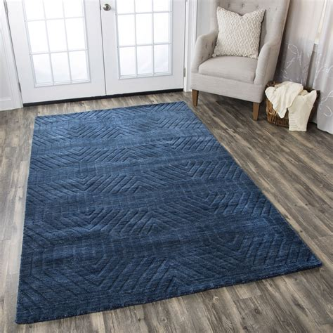 9 X 12 Wool Area Rugs by Technique Faded Ornamental Wool Area Rug In Navy 9 X 12