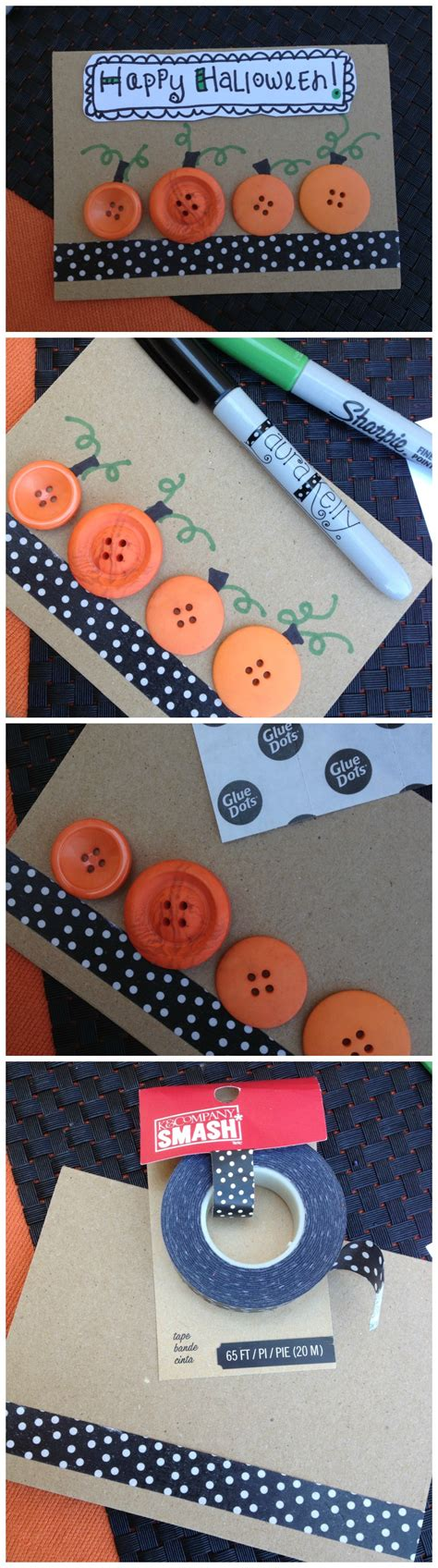 Halloween Card Making With Button Pumpkins