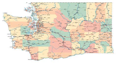 large administrative map  washington state  roads