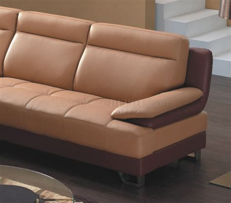 camel brown bonded leather 8045 modern sectional sofa