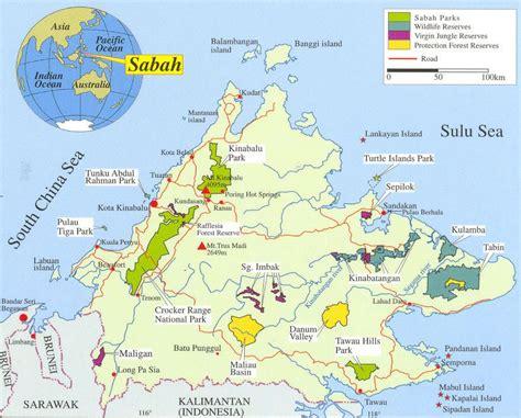 borneo sabah map  virgin jungle reserves indonesia
