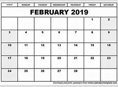 February 2019 Calendar Template printable calendar template