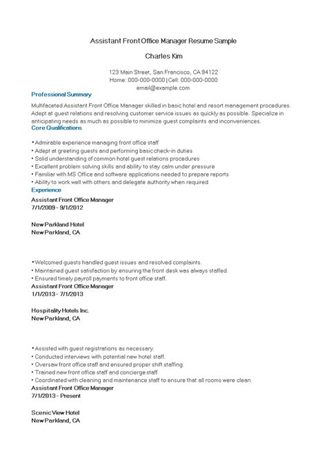 assistant front office manager resume sample templates